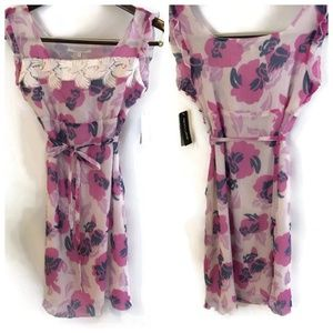 Penny Lane Embroidered Chiffon Floral Dress Sz S